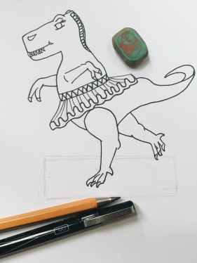 Ballerina dinosaur illustration for craft activity