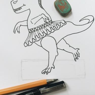 Ballerina dinosaur illustration for craft activity