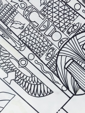 Egyptian pattern illustration for craft activity