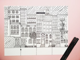 NYC street scene illustration for craft activity